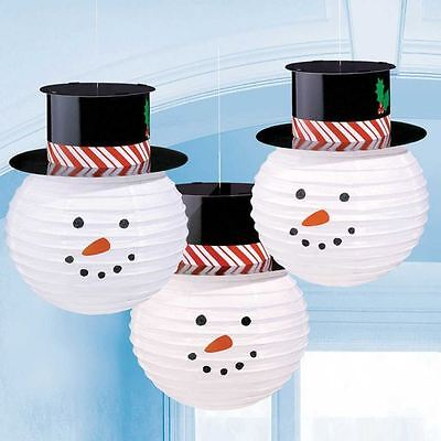 3 Snowman Paper Lanterns with Hats Christmas Party Hanging Decorations