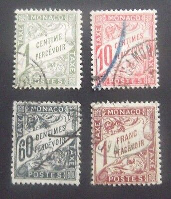Monaco-4 Tax stamps-Used