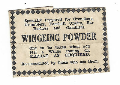 Old humorous paper powder packet - WINGEING POWDER - 1940s