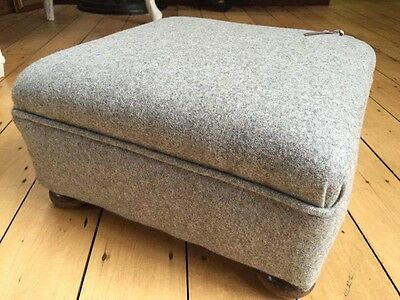 Antique Victorian Footstool covered In Grey Pure Wool