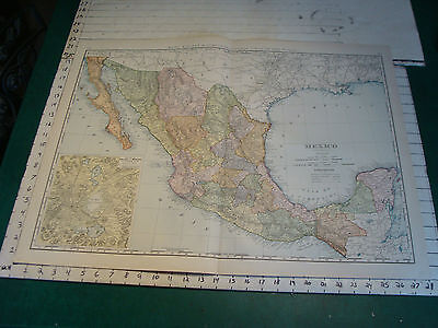 Vintage Original 1898 Rand McNally Map:  MEXICO, 28 x 21""