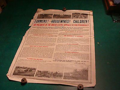 Original WWI Poster: FARMERS ! HOUSEWIVES ! CHILDREN! c. 1917 agriculture poster