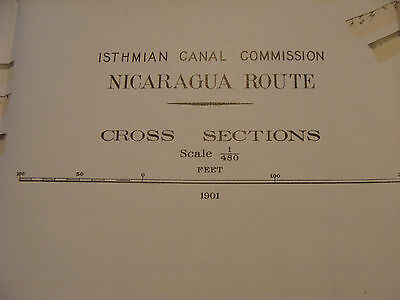 Early 1900's Orig chart ISTHMIAN CANAL: NICARAGUA ROUTE plate 60 CROSS SECTIION