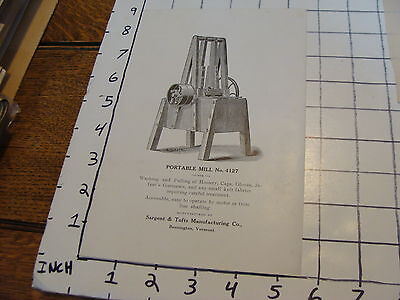 Vintage Early Paper:1800'S card: PORTABLE MILL # 4127 Sargent & tufts  VT