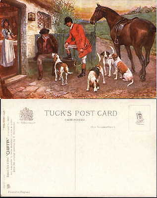 Tuck Oilette Hunt Day series #9923 hound dogs horse artist signed Drummond