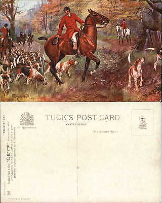 Tuck Oilette Hunt Day series #9923 hound dogs horse trees artist signed Drummond