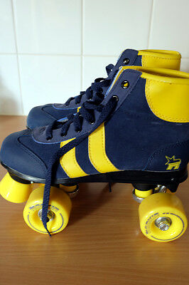 Rookie Retro Blue/Yellow Quad Skates/Roller Boots - Size 3, Immaculate