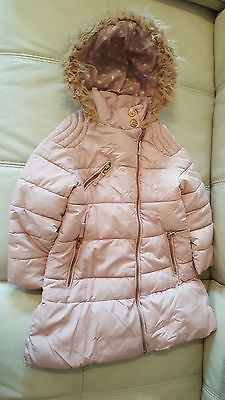 Next Girls Winter Jacket Dusky Pale Pink Coat 3-4 years