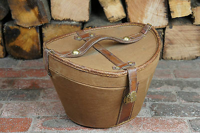 Beautiful Fully Intacy Leather & Canvas Bucket Hatbox