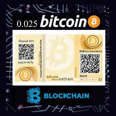 0.025 BITCOIN Certificate Free International Tracked Delivery BTC Digitalcash