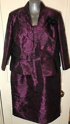 Kaliko Purple Floral Dress And Jacket Suit Size 16 Mother Of The Bride Winter
