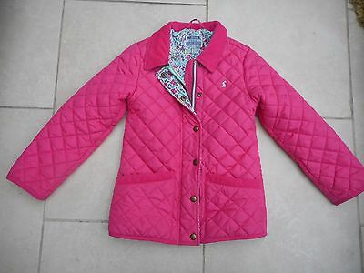 Joules Mabel Quilted Riding Jacket Cord Collar/pockets*rabbit Logo* Pink Age 8