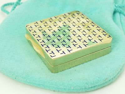 Tiffany & Co 18k Yellow Gold White Blue Enamel Pill Box Container Pouch and Box