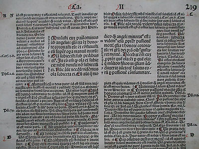 Rubricated Incunable Leaf Folio Koberger Bible Biblia latina (219) - 1498