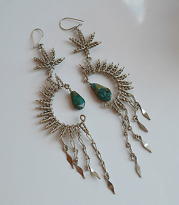 vintage handmade MEXICAN turquoise SILVER filigree DANGLE CHANDELIER Earrings