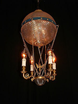 Unique Vintage French bronze Air Balloon Empire style figural chandelier