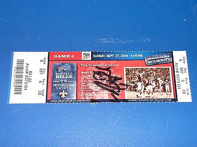 Buffalo Bills  09/27/09 Game 2 Official Ticket Signed Frank Reich Coa Mma