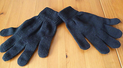 black knitted wooly gloves one size boys girls ladies mens school winter NEW