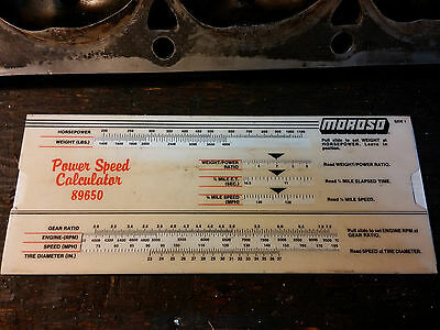 Vintage Moroso Power Speed Calculator 89650  Slide Rule Tool Great Condition!!