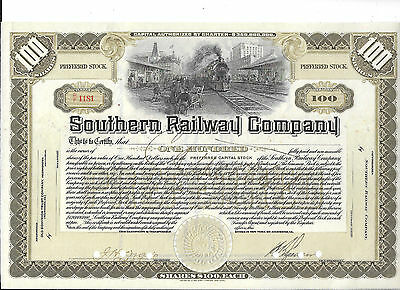Southern Railway---1917---Stock Certificate
