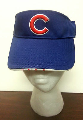 "NEW Embroidered ""C"" (Cubs) Baseball Visor cap - Royal w/ red ""C"" adj 100% cotton"