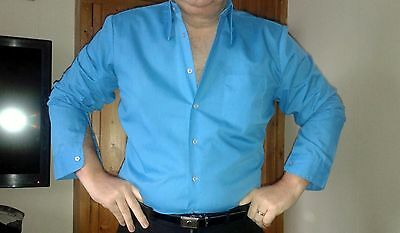 NICE SEVENTIES BLUE 70s/60s MENS SHIRT MEDIUM/LARGE LARGE DAGGER COLLAR! FANCY