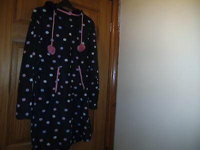 Ladies fluffy spotted sleepwear in navy with hood Size 12/14