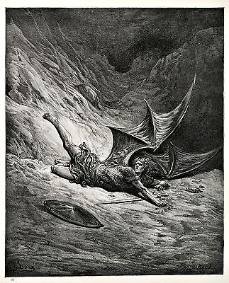 Vintage print circa 1870 Milton's  Paradise Lost by Gustave Dore