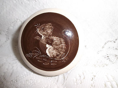 Snowdonia Pottery Trinket Pot Handpainted Dormouse Cream And Brown