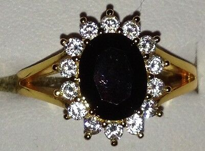Yellow Gold Plated Black Cubic Zirconia Vintage Ring, Size P - Ideal Christmas