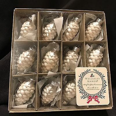 Glass Pinecone Ornaments 2 sets of 12 each - Silver