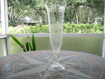 """Cambridge Wildflower Vase Crystal 12"""" Keyhole Footed #1238 Great Condition Rare"""
