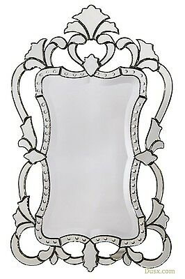 DUSX Venetian French Rococo Style Fretted Beveled Mirror