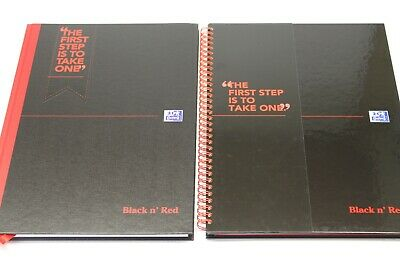 A5 OR A4 BLACK N' RED RULED PROFESSIONAL NOTEBOOK. SPIRAL OR CASE BOUND. 90gsm.
