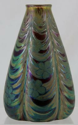 "Weller Sicard Stunning 8"" Lobed Vase Awesome Design Of Trees & Blossoms Mint"