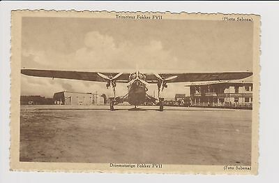vintage rppc Sabena world airlines Fokker F-VII aircraft Brussel airport
