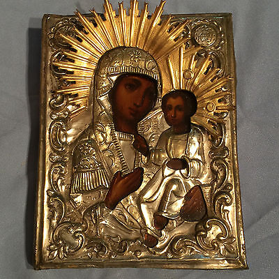 Antique Russian Hand Painted Silver plated Icon Virgin of Iversk