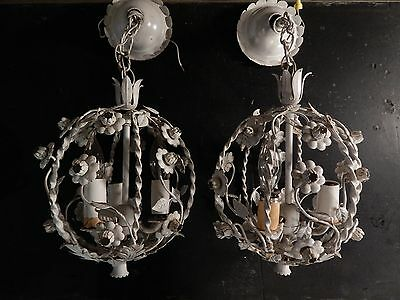 Pair Of Vintage Mcm 3 Bulb White Floral Metal Hanging Light Fixtures