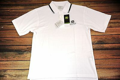 Brand New John Deere Financial (Large) Polo Shirt White JD Green Tractor