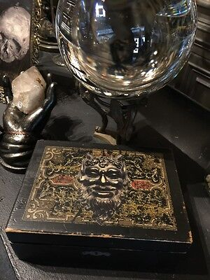 Antique Wood Devil Box with Old Needful Things Vintage Witchcraft Occult Pagan