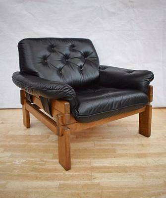 Mid Century Retro Brazilian Black Leather & Oak Lounge Arm Chair 1960s 70s