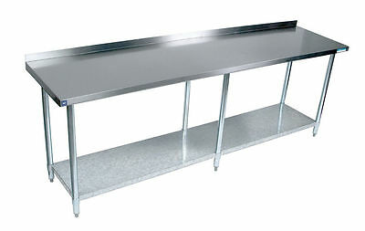 Commercial Stainless Steel Work Prep Table 24x96 with Backsplash NSF Certified