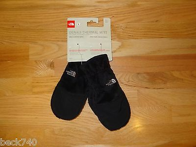 New Girls North Face Denali Thermal Mittens Gloves TNF Black Large Soft! NWT