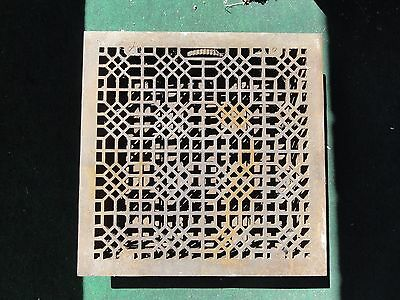 """Antique Cast Iron Victorian Floor Grate Register Dampers Large 22 1/4"""" by 22 1/4"""