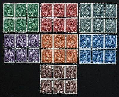 ST LUCIA - SG128a-134c Blocks of 6. KGVI 1938-48. Unmounted Mint MNH.