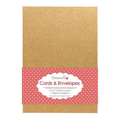 """Pack of 10 Dovecraft 5"""" x 7"""" Natural Brown 240gsm KRAFT Cards and Envelopes"""