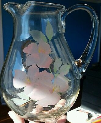 """Vintage floral Pasabahce Clear Glass 8"""" Pitcher, Made in Turkey. Pink Flowers"""