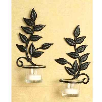 SET OF 2 Metal Wall Mounted Candle Sconce With Glass Candle Holder ...