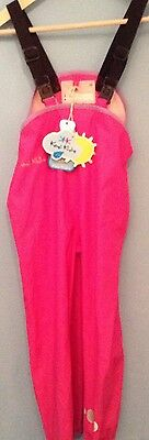 Kozi Kidz Girls Pink Waterproof Dungarees Trousers 110cm BNWT