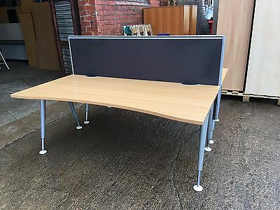 Graphite Height Adjustable Office Desk Dividers / Privacy Screens  1800Mm Wide